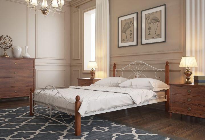 Кровать Фортуна 1 белый-махагон ГЗМИ